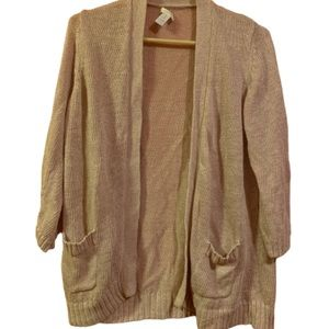 Chico's Brown Pink Sparkly Size 1 Women Cardigan